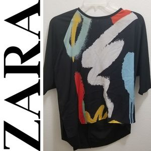 ZARA Paint Brush Strokes Multicolor Top
